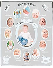 Tiny Ideas Baby's First Year Keepsake Picture Photo Frame, Silver