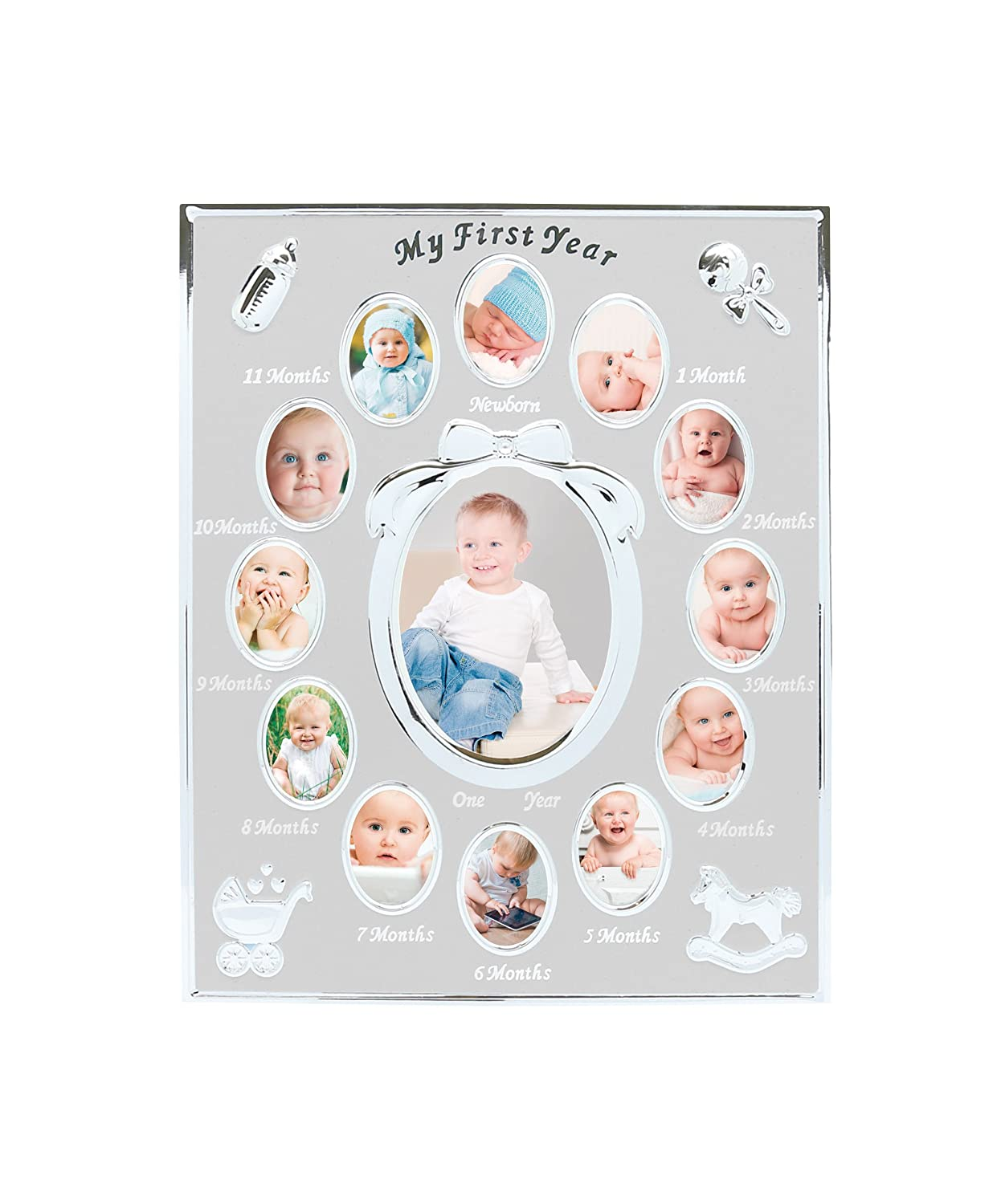 Tiny Ideas Baby's First Year Keepsake Picture Photo Frame, Silver 96002