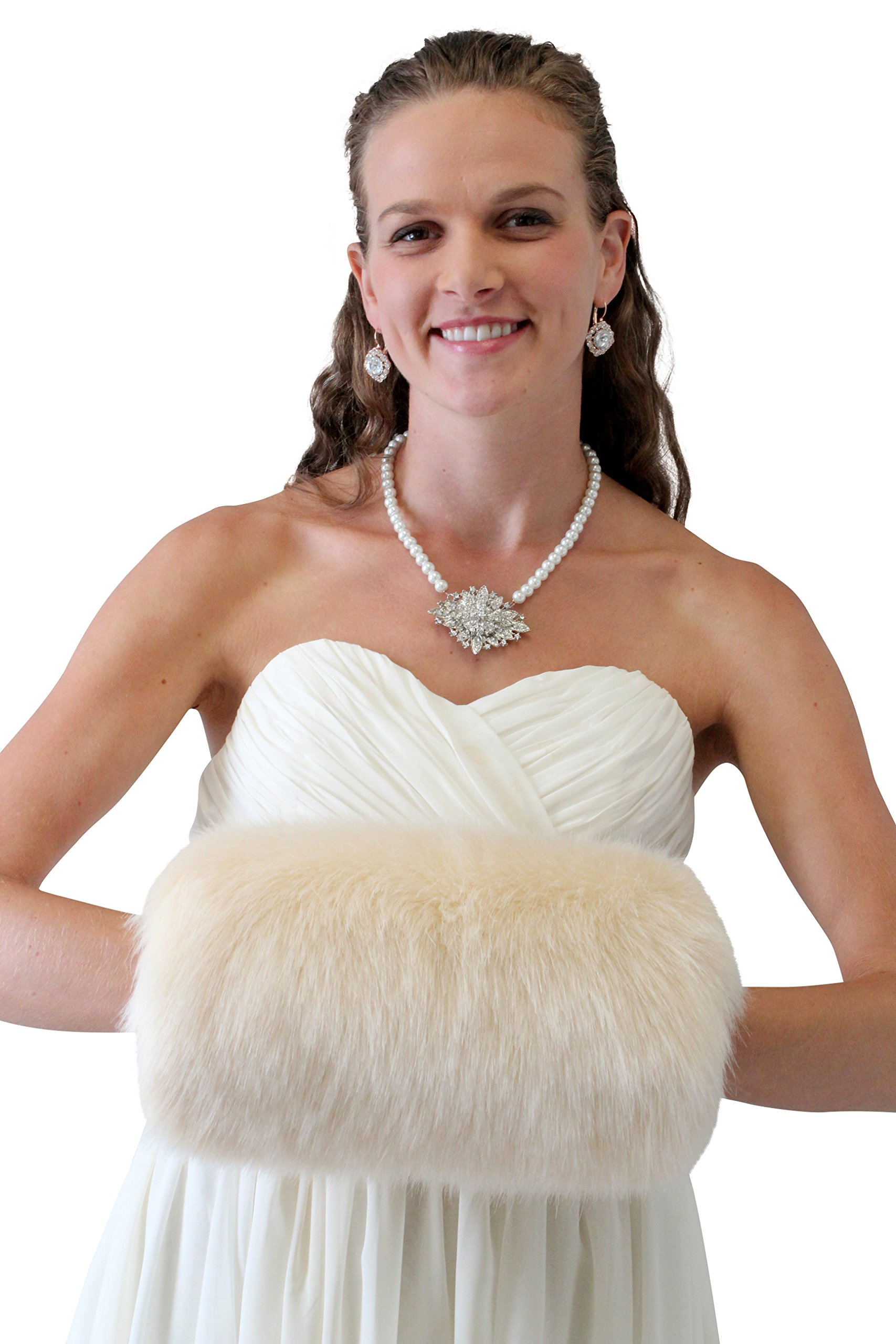 Tion Design Women's Bridal Fur Hand muff, Champagne Wedding Fur Hand Muff L