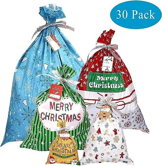 YQing 30 Piezas Bolsa, Saco Navidad Packaging Sacos Regalo Bolsa con Cordon Navidad Decoracion Regalos, 5 Estilos Surtidos: Amazon.es: Hogar