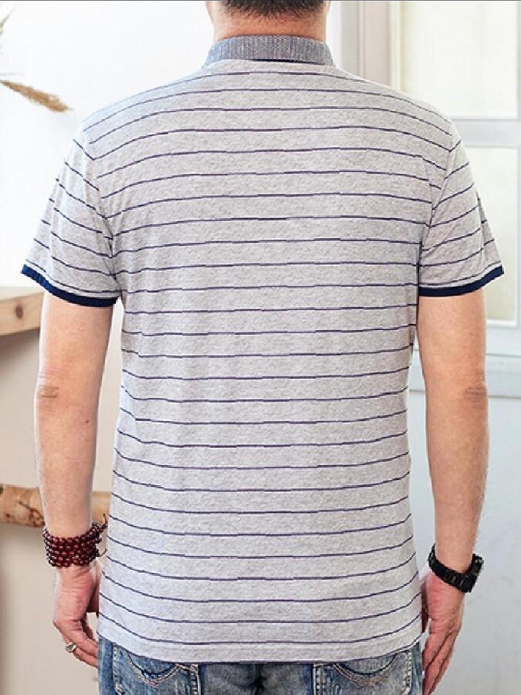 Gocgt Mens Classic Fit Stripe Short Sleeve Pique Polo Shirt