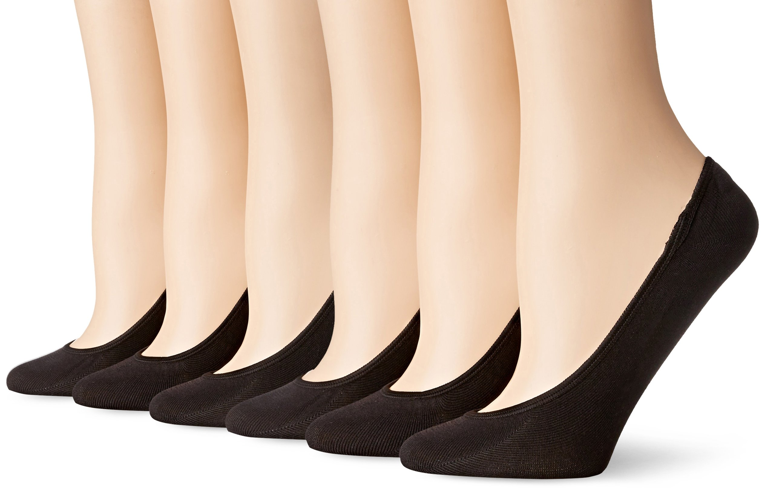 PEDS Women's Ultra Low Microfiber Liner with Gel Tab - 6 Pairs, Black, Shoe Size 4-7