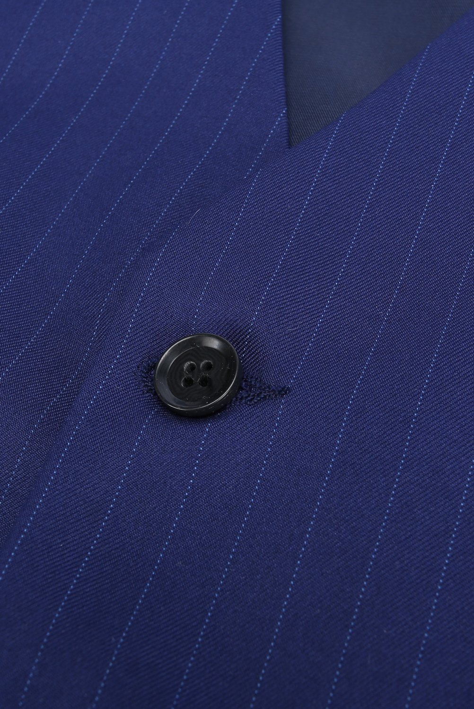 CMDC Men's 3 Pieces Business Suits Slim Fit Stripe Blazer Jacket Vest Pants Set SI137 (Blue,40) by CMDC (Image #4)