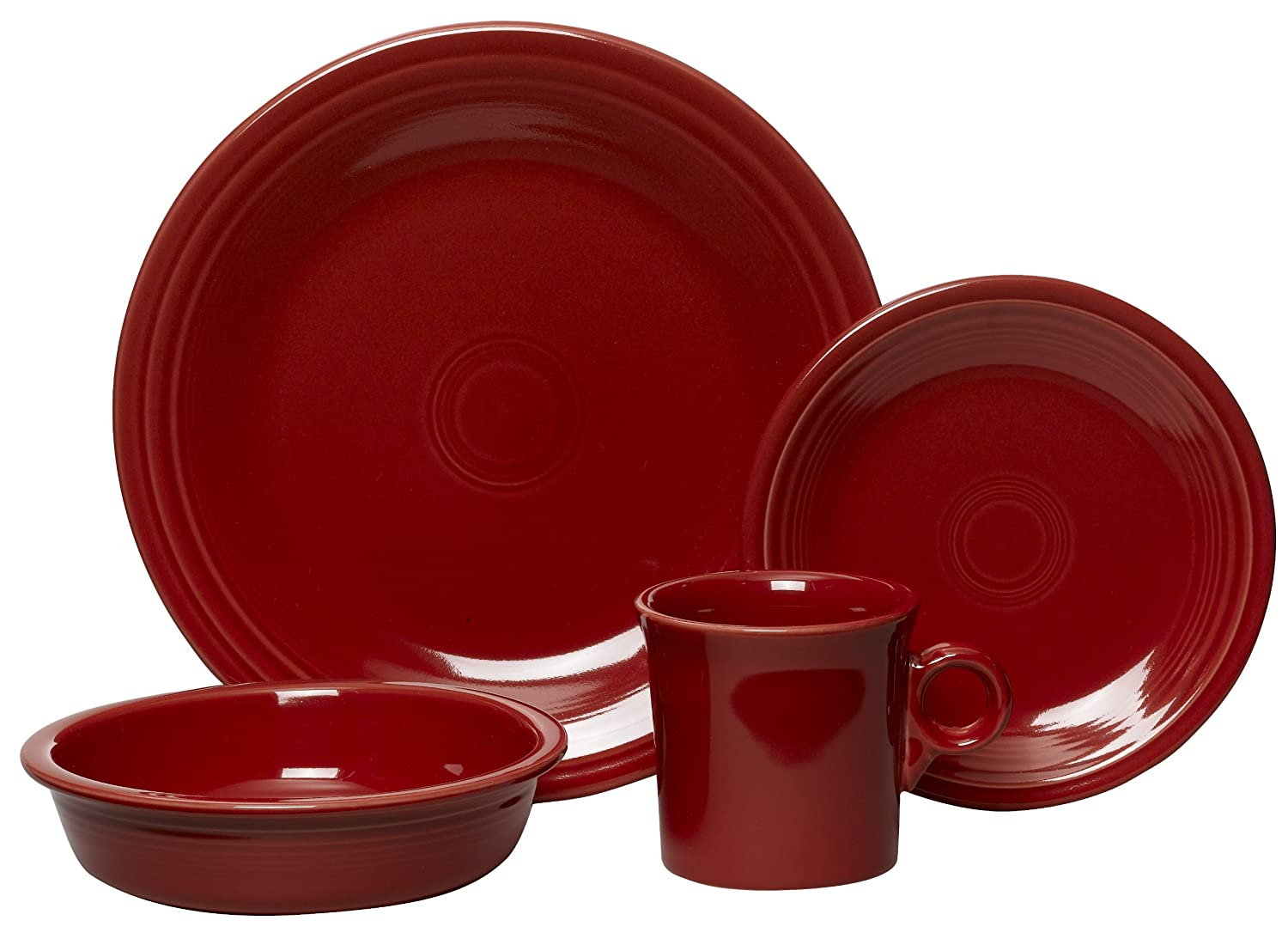 Amazon.com | Fiesta 4-Piece Place Setting Scarlet Dinnerware Sets Dinnerware Sets  sc 1 st  Amazon.com & Amazon.com | Fiesta 4-Piece Place Setting Scarlet: Dinnerware Sets ...