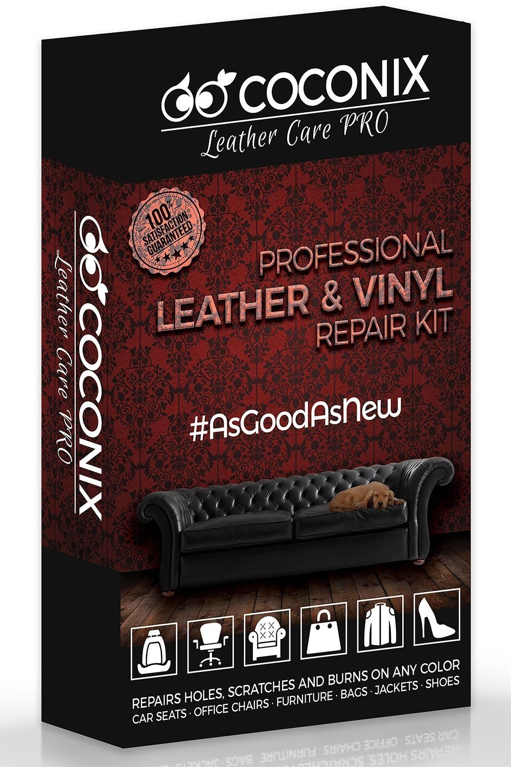 Coconix Upholstery, Vinyl and Leather Repair Kit – Furniture, Couch, Sofa, Boat, Car Seat, Jacket Restorer – Super Easy Instructions to Restore and Match Any Color Genuine, Italian, Bonded, Bycast, PU
