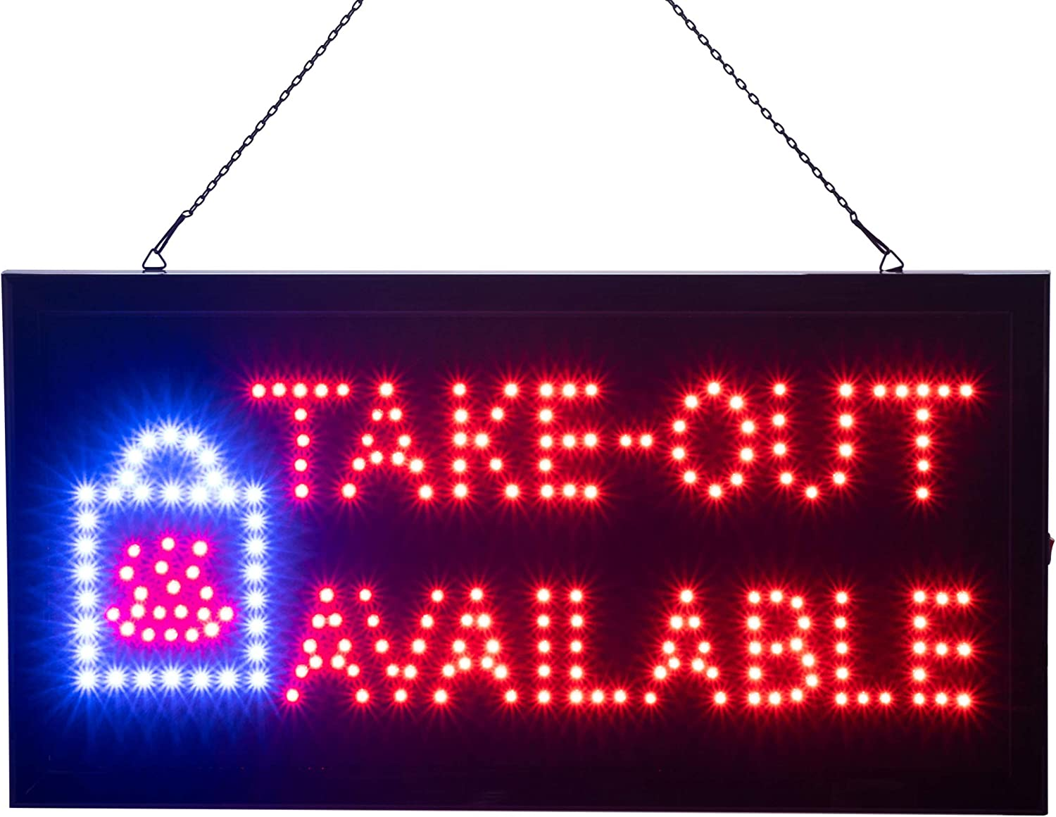 Ultima LED Neon Take-Out Available Sign for Restaurants: Lighted Sign with Static and Flashing Modes – Indoor Electric Light up Signs for Food Trucks, Coffee Shops, Bars and Cafes (19 x 10 in)