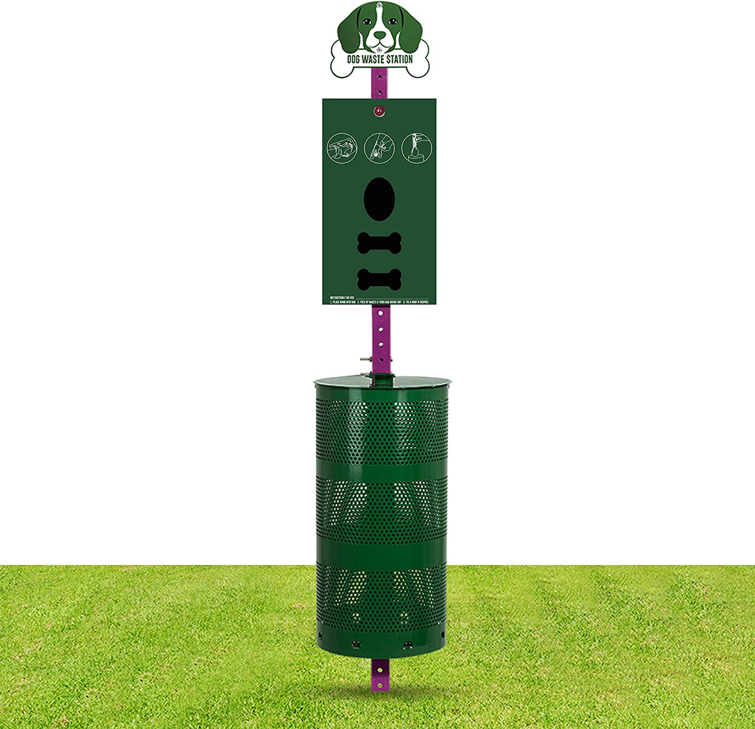 Dog Waste Station Pet Waste Station with Sign Board Dual Bag Dispenser Large Disposal Bin Rust Free 400 Roll Bags 400 Pull Bags 50 Can Liners Everything Included for Home Commercial Park Poop Stations