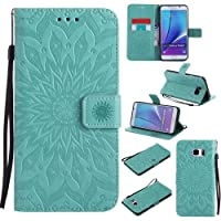 CUSKING Case for Samsung Galaxy Note 5, Premium PU Leather Embossed Flower Wallet Stand Flip Galaxy Note 5 Case Magnetic Shockproof Full Protective Case Cover with Hand Strap - Mint Green