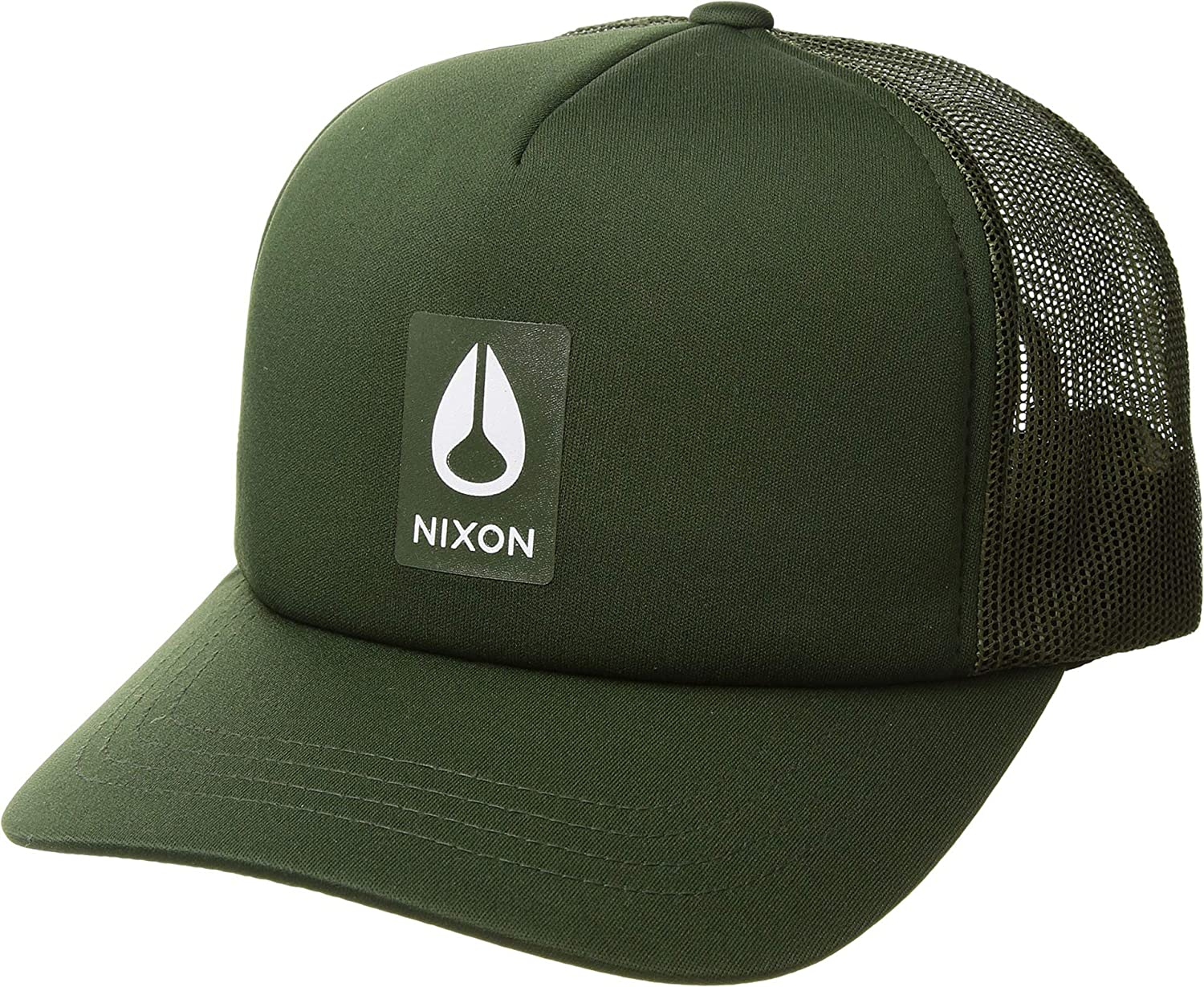 3233b9c33b5 Amazon.com  NIXON Men s Badge Foam Trucker Hat Dark Olive One Size  Clothing