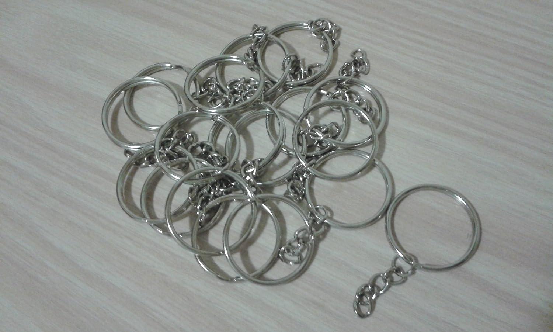 Paquete de 20 aros para llavero con aro distributor y cadena ideal para artesan/ías Anillas,Fornituras