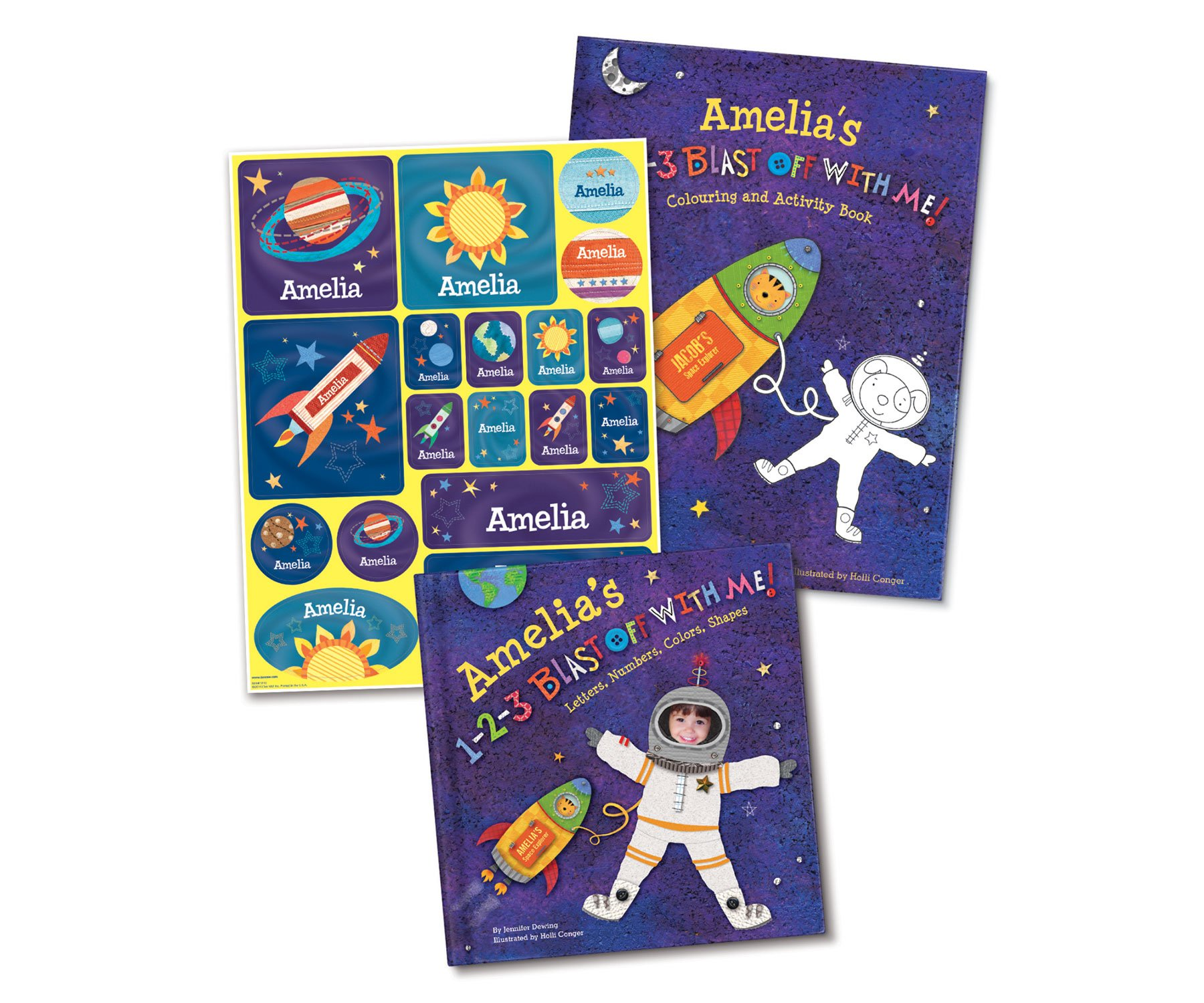 Outer Space Solar System Rocket Spaceship Personalized Custom Name Board and Activity Book | 123 Counting Numbers Alphabet ABC's | I See Me!