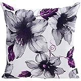 LAZAMYASA stampato rose cover Pillows case Soft throw Pillow federa piazza divano copertura del cuscino, cotone lino, Purple, 18 * 18 IN