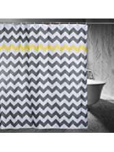 Chevron Shower Curtain, 72 x 72-Inch, Gray/Yellow