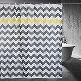 Chevron Shower Curtain, 72 x 72-Inch, Gray/Yellow