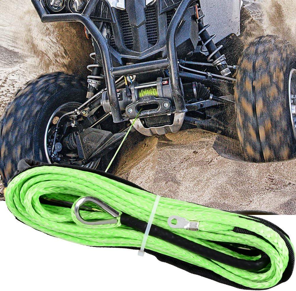Astra Depot Green 50ft 1//4 inch 7000lbs Synthetic Winch Rope w//Rock Heat Guard Car SUV ATV UTV KFI Ramsey Truck