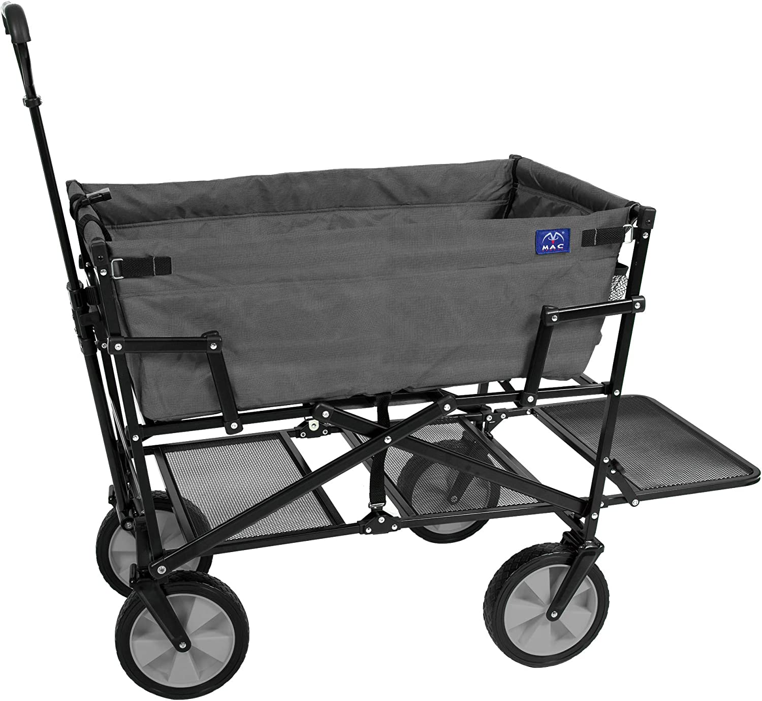 Mac Sports Double Decker Collapsible Outdoor Utility Wagon Folding Pull Cart, for Sports Baseball Pool Camping Fishing, Collapsable Fold up Wagon with Wheels, Heavy Duty Steel, Two Tone Gray