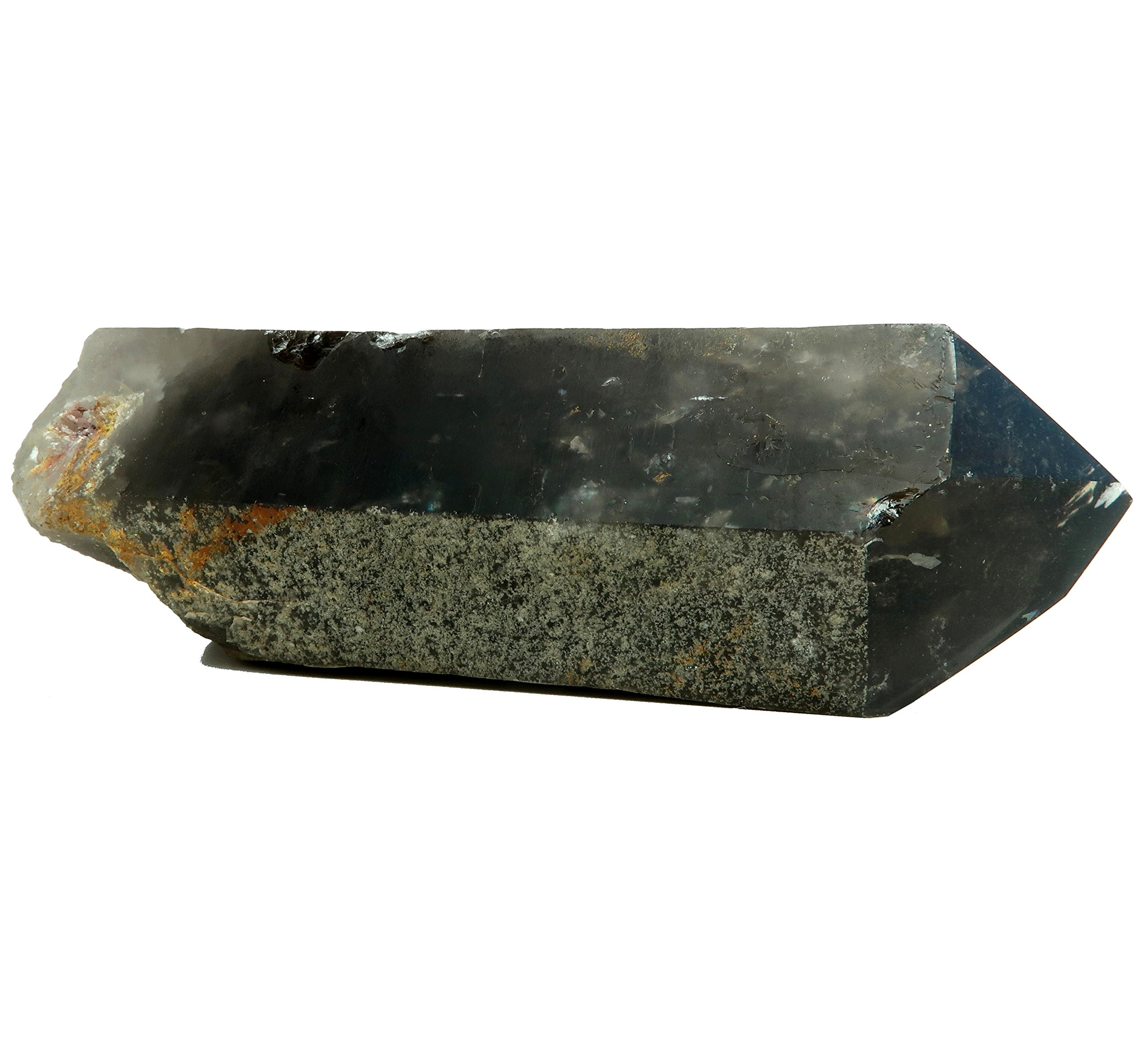 Smoky Quartz Wand 07 - Rough Point Chunky Stone Polished Tip (7.6 Inches, 2 Pounds)