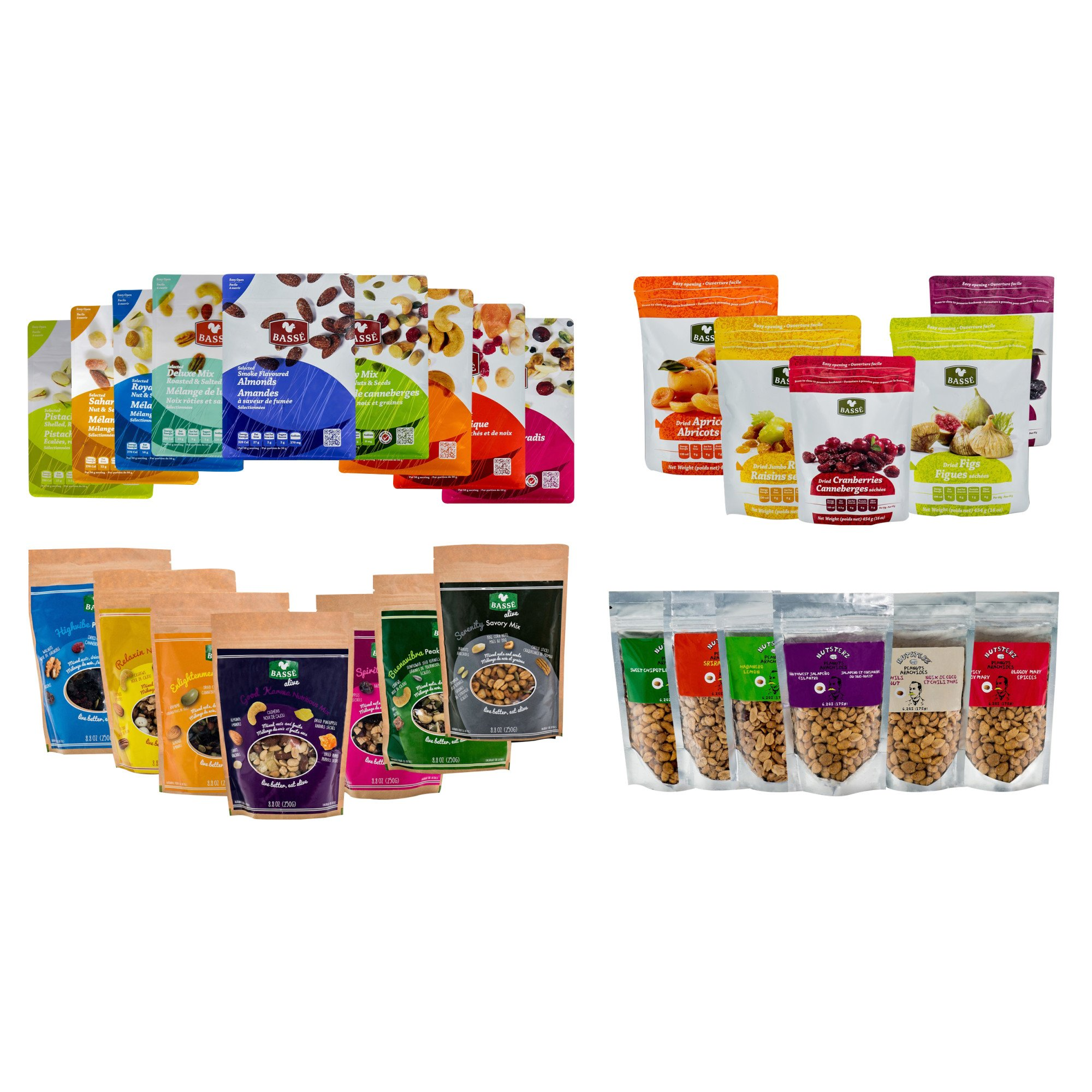 Mega Snack Pack, Over 15lbs of Dried Fruit, Trail Mixes, Nutsterz Spicy Peanuts, and Assorted Basse Nuts - Variety Pack of Superfoods and Healthy Snacks for Good Energy & Nutrition (27 Bags Total) by Basse