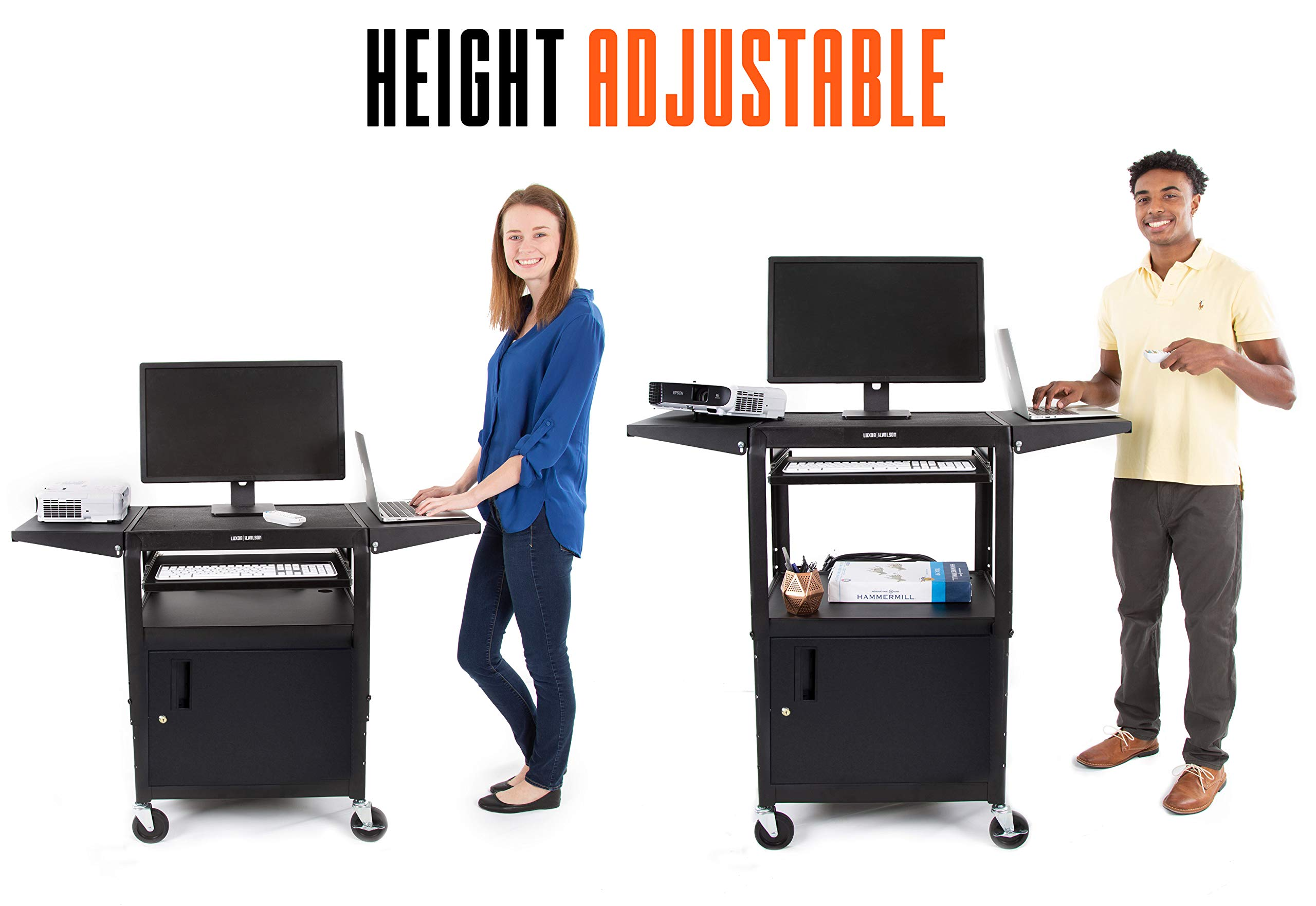 Line Leader AV Cart with Locking Cabinet and Drop Leaves | Height Adjustable Utility Cart with Extra Storage | Power Strip and Cord Management | Great for Presentations! (Black / 46'' x 18'') by Stand Steady (Image #3)