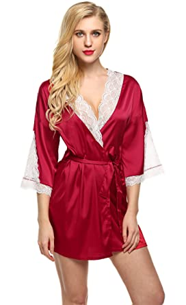 Elaver Sexy Satin Lingerie Robes Lace Bathrobe for Women at Amazon ...