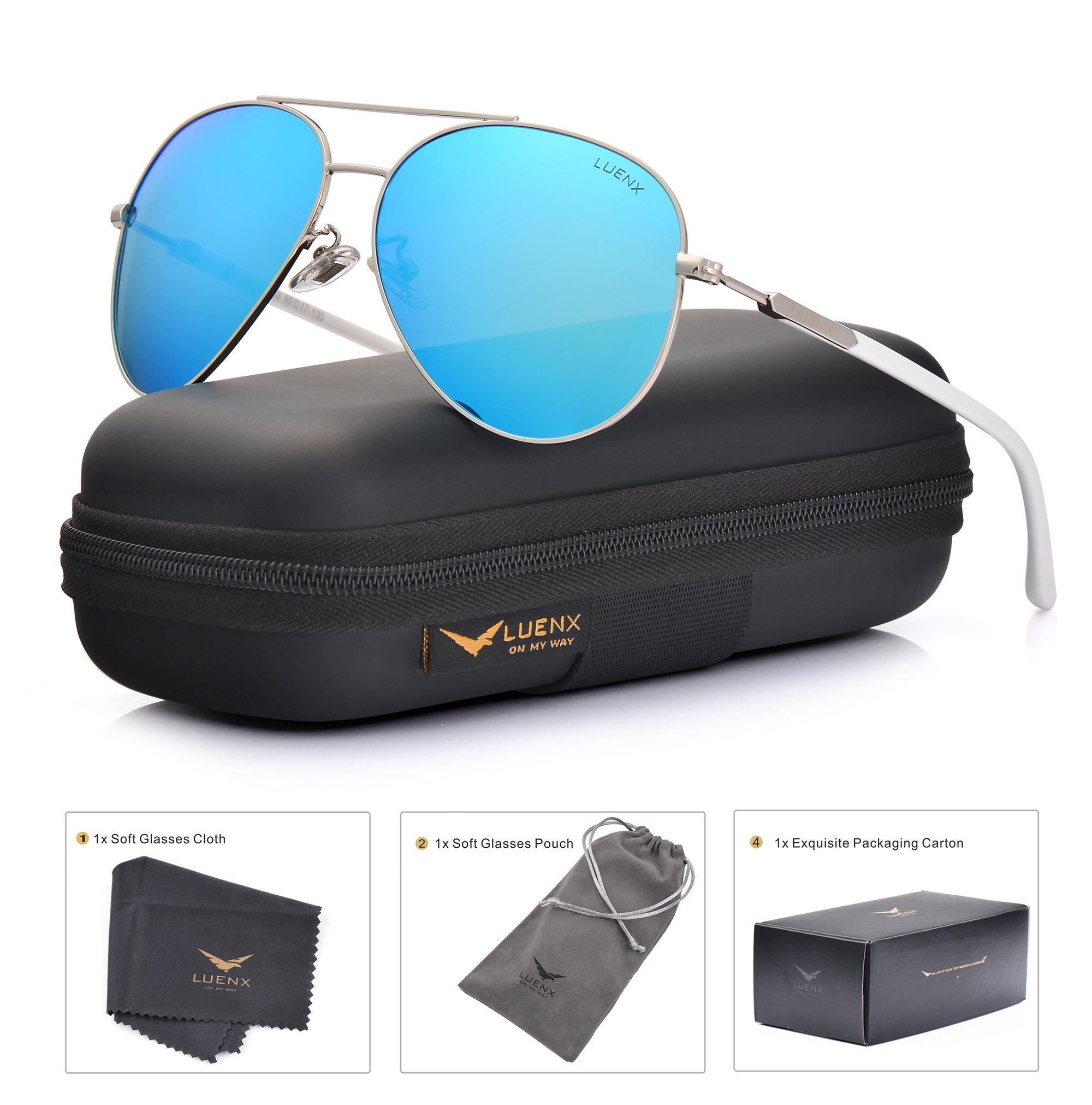 LUENX Aviator Sunglasses Mens Womens Polarized Mirror - UV 400 Protection Light Blue Lens Silver Frame 60mm