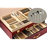 """75-Piece Gold Flatware Set Dining Service for 12, 18/10 Premium Stainless Steel, 24K Gold-Plated Trim, Silverware Serving Set, Wood Storage Case (""""Venice"""")"""