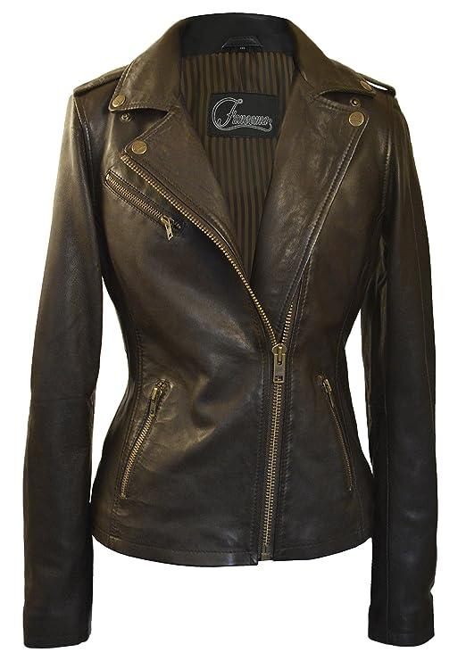 Faneema Women's Riva Moto Leather Jacket, Espresso Brown (Ex-Large)