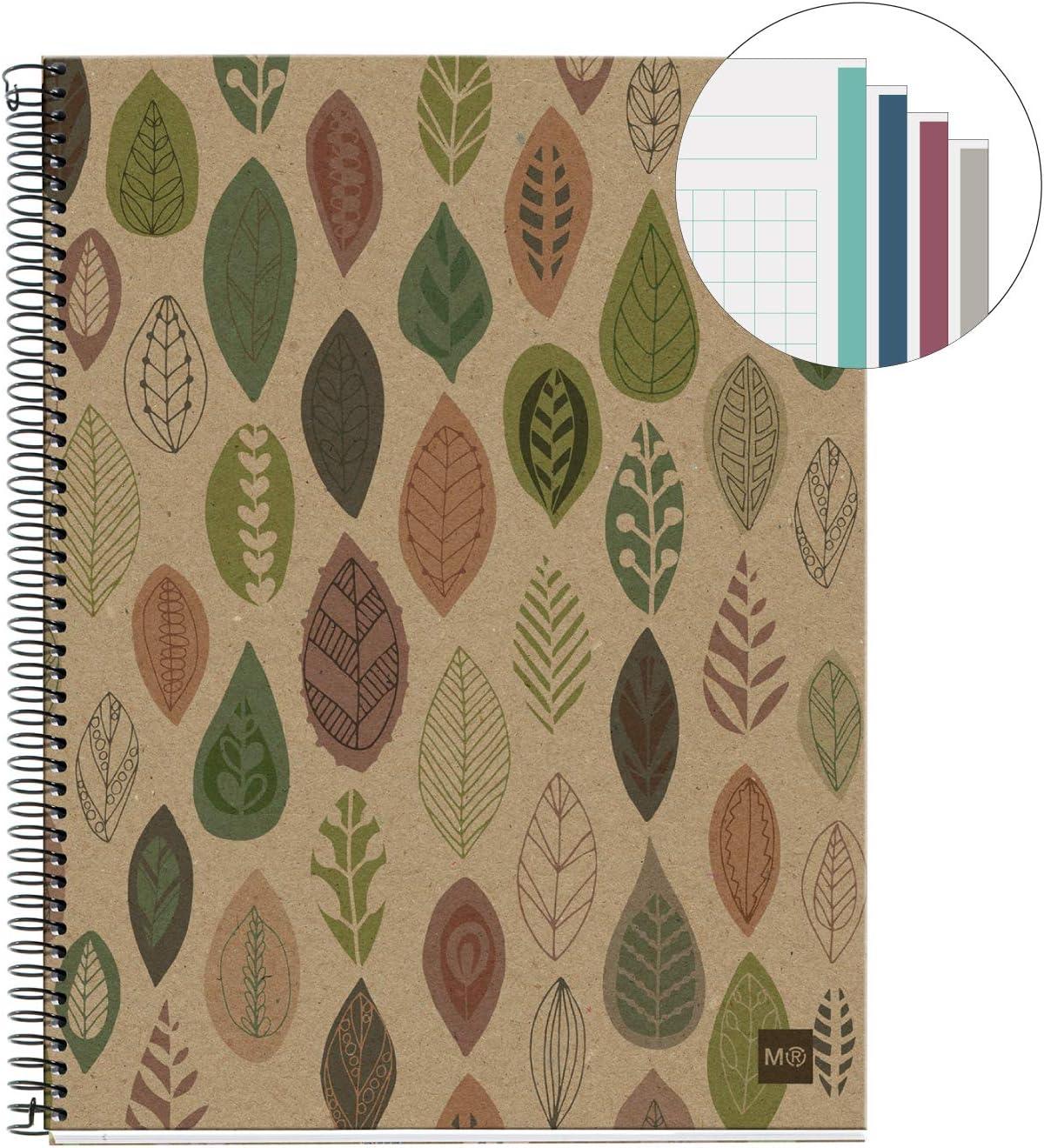 MIQUELRIUS - Cuaderno Notebook 100% Reciclado - 4 franjas de color, A5, 120 Hojas cuadriculadas 5mm, Papel 80 g, 2 Taladros, Cubierta de Cartón Reciclado, Diseño Ecohojas: Amazon.es: Oficina y papelería