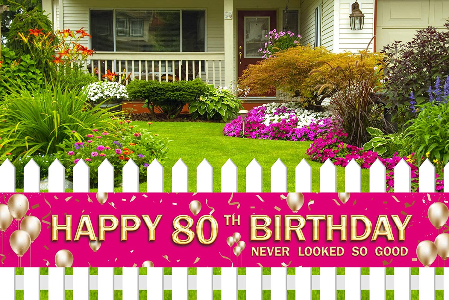 Large 80th Birthday Party Banner, 80th Birthday Party Supplies Decorations for Both Outdoor Indoor (9.8 x 1.6ft) (Pink)