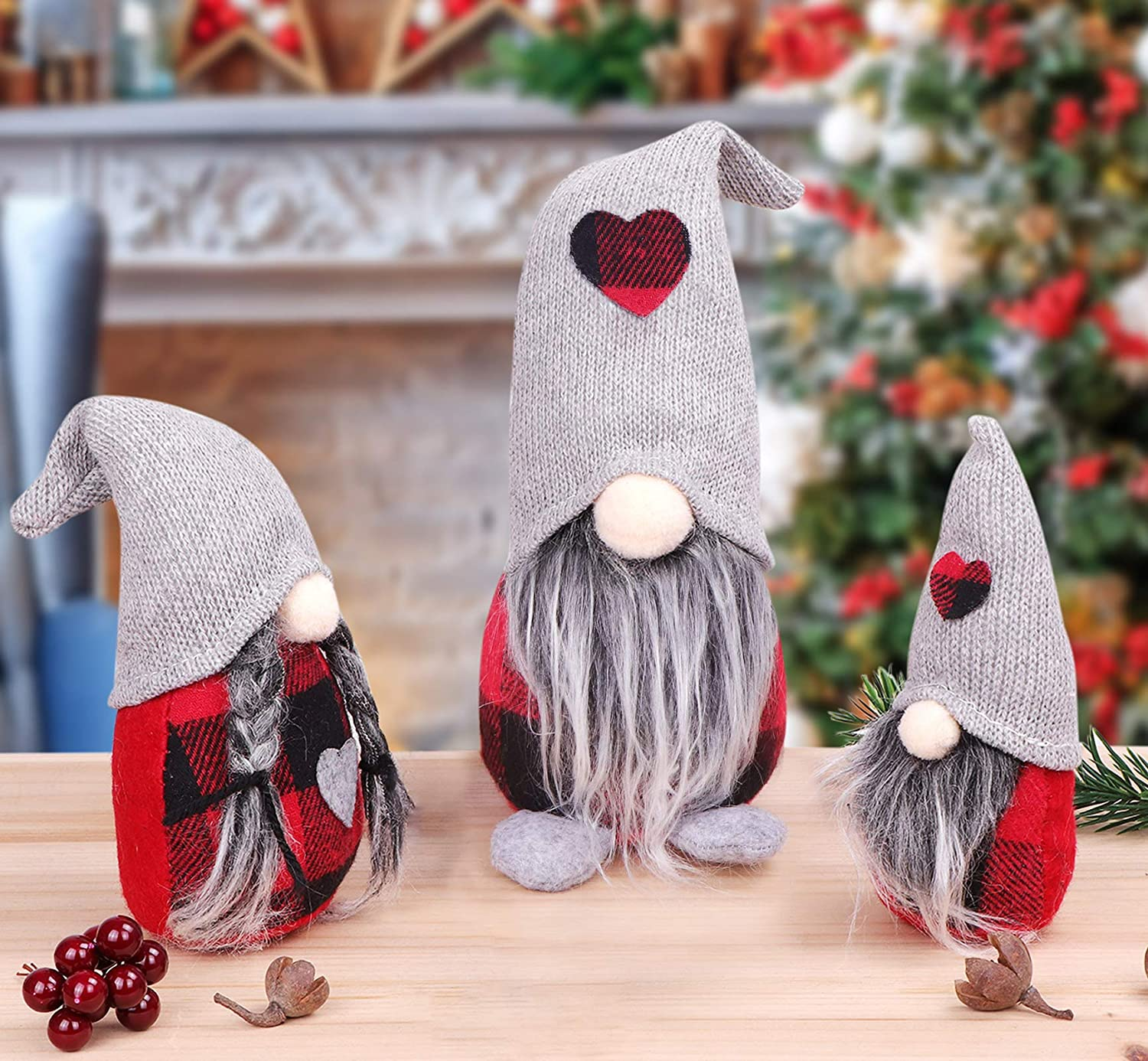Gnome Christmas Decorations 3 Pack Christmas Holiday Gnomes Ornament Handmade Plush Swedish Red Buffalo Plaid Tomte Elf Christmas Home Indoor Decorations