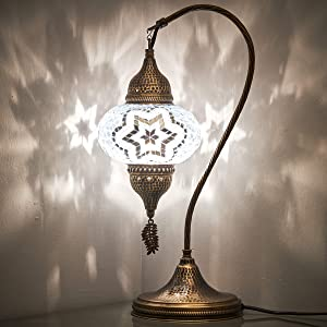 (18 Variations) CopperBull 2020 Turkish Moroccan Tiffany Style Handmade Colorful Mosaic Table Desk Bedside Night Swan Neck Lamp Light Lampshade, 19""