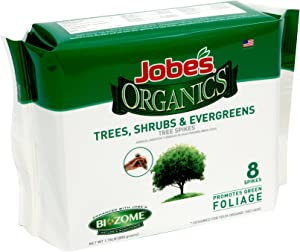 Jobe's Organics Tree, Shrub & Evergreen Fertilizer Spikes with Biozome, 8-2-2 Organic Time Release Fertilizer Feeds Trees Shrubs and Evergreen Trees All Season Long, 8 Spikes per Package