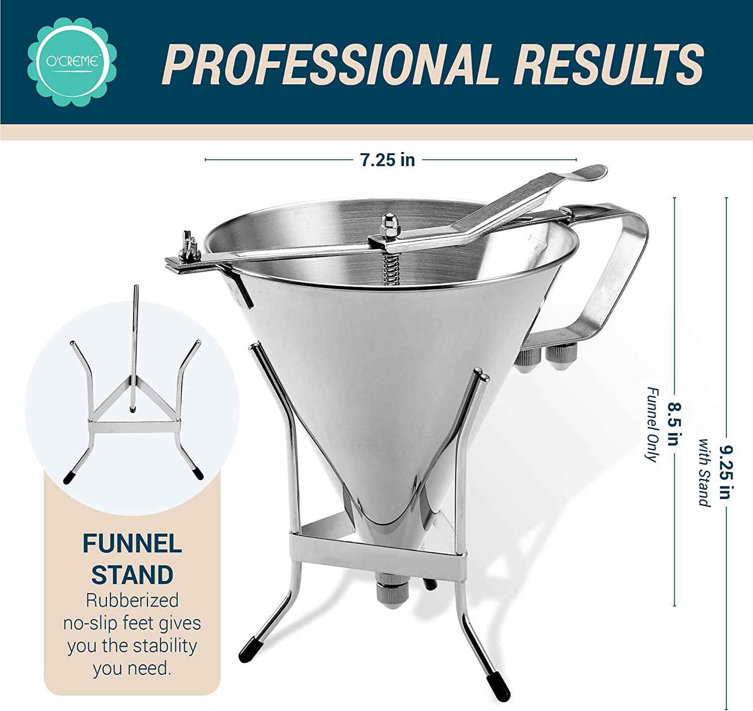 O Creme 500102 Deluxe 2-Liter Confectionery Funnel with Stand