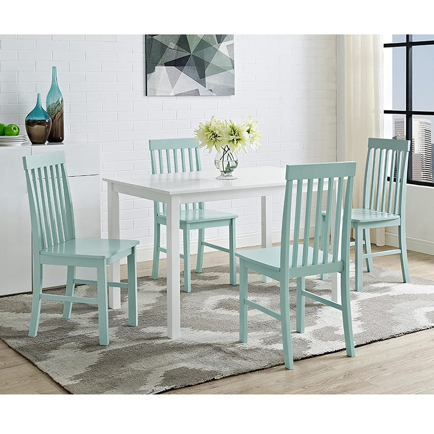 Ideal Amazon.com - New 5 Piece Chic Dining Set-Table and 4 Chairs-White  NE75