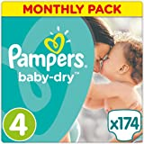 Pampers Baby Dry, 174 Pannolini, Taglia 4 (8-16 kg), 174 pezzi
