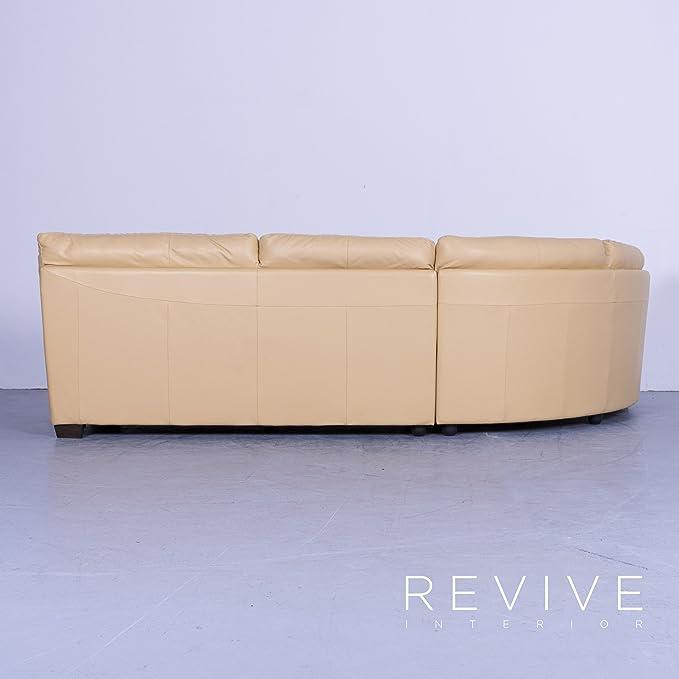 Natuzzi Designer Leder Sofa Apricot Orange Viersitzer Couch ...