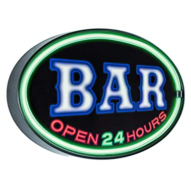 Officially Licensed Bar Open 24 Hours LED Sign, New Improved Now with 6' Wall Plug Cord! LED Light Rope That Looks Like Neon, Wall Decor for Bar, Garage, or Man Cave