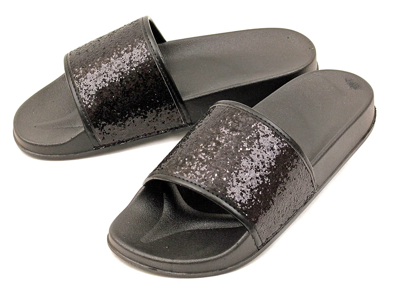 481769258e84 Amazon.com | Luckers Girls Dazzling Glitter Slide Sandals | Sandals