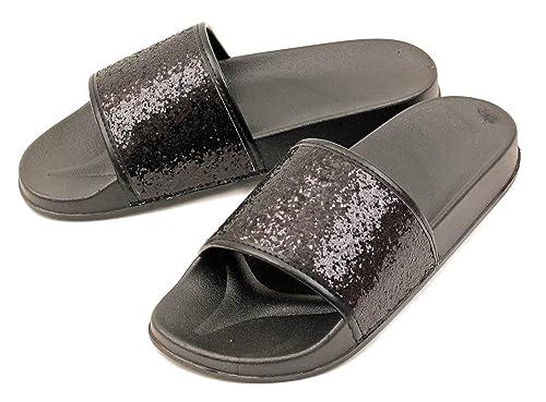 c8b3694f22a1 Luckers Girls Dazzling Glitter Slide Sandals (6 Big Kid, Beachside Black  Glitter)
