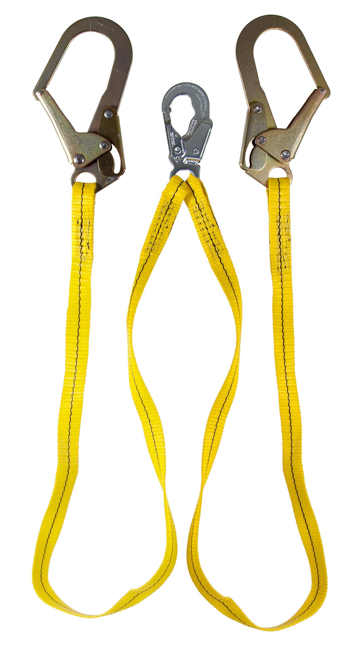 Guardian Fall Protection 01271 6-Foot Double Leg Non-Shock Absorbing Lanyard with Rebar Hook