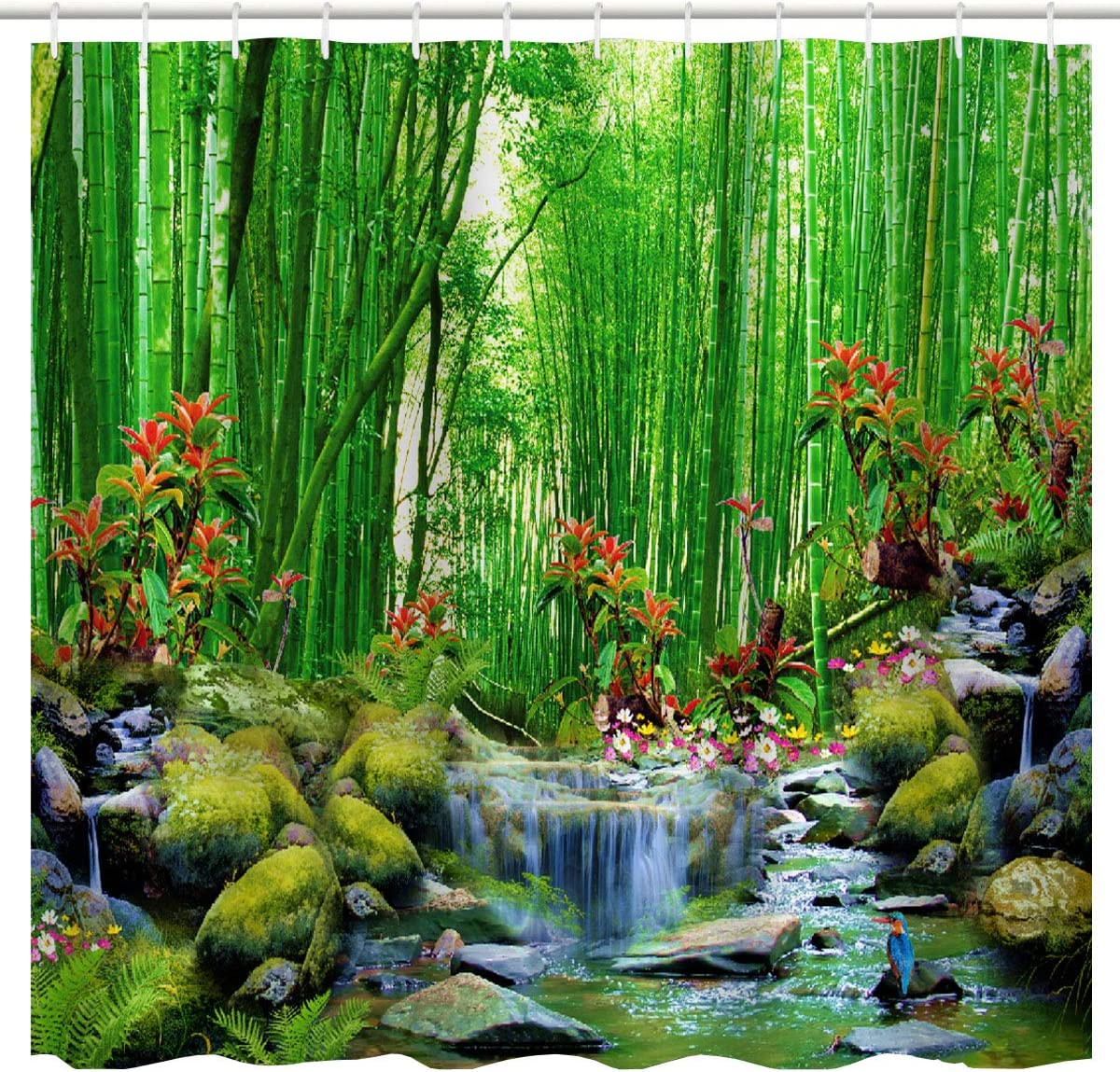 BROSHAN Bamboo Forest Shower Curtain Fabric, Summer Outdoor Forest Jungle Waterfall Rock Nature Scenery Bath Curtain Art Printing, Green Landscape Bathroom Fabric Accessories Set with Hooks,72 x 2