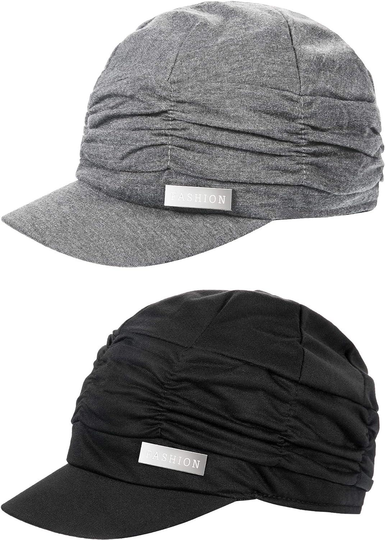 2 Pieces Women Newsboy Cabbie Cap Beret Hats Bamboo Baseball Cap Cotton Painter Visor Hats for Women