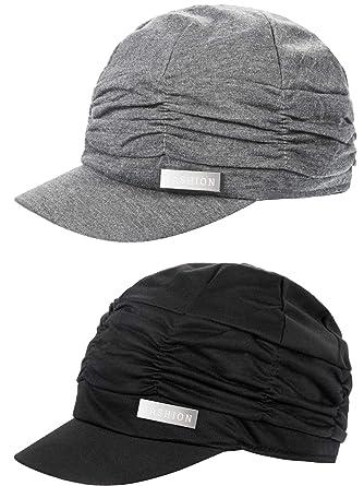 cda88d6d1d6 2 Pieces Women Newsboy Cabbie Cap Beret Hats Cap Bamboo Baseball Cap Hair  Loss Turbans Cloche Cotton Painter Visor Hats Soft Hats for Women  Amazon.co .uk  ...