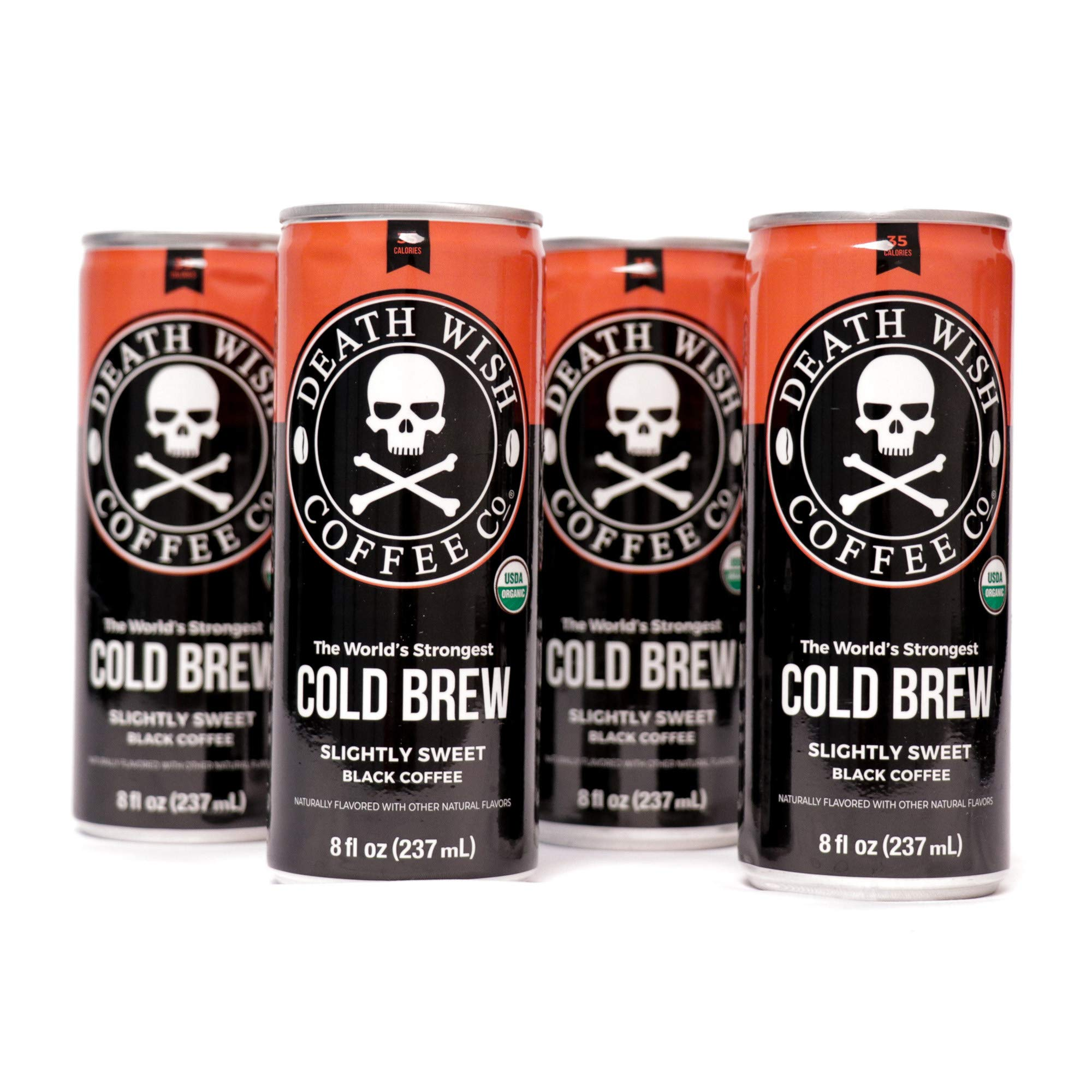Death Wish Coffee, Cold Brew Cans, The World's Strongest Coffee, Organic Iced Coffee Drink - 8 Ounces - 300 mg of caffeine - 4 Pack (Slightly Sweetened Black) by Death Wish Coffee Co.