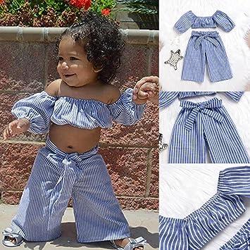 df3514300d75de 2018 New Fashion Shybuy 2Pcs Toddler Baby Kids Girls Off Shoulder Striped  Tops T Shirt Pants