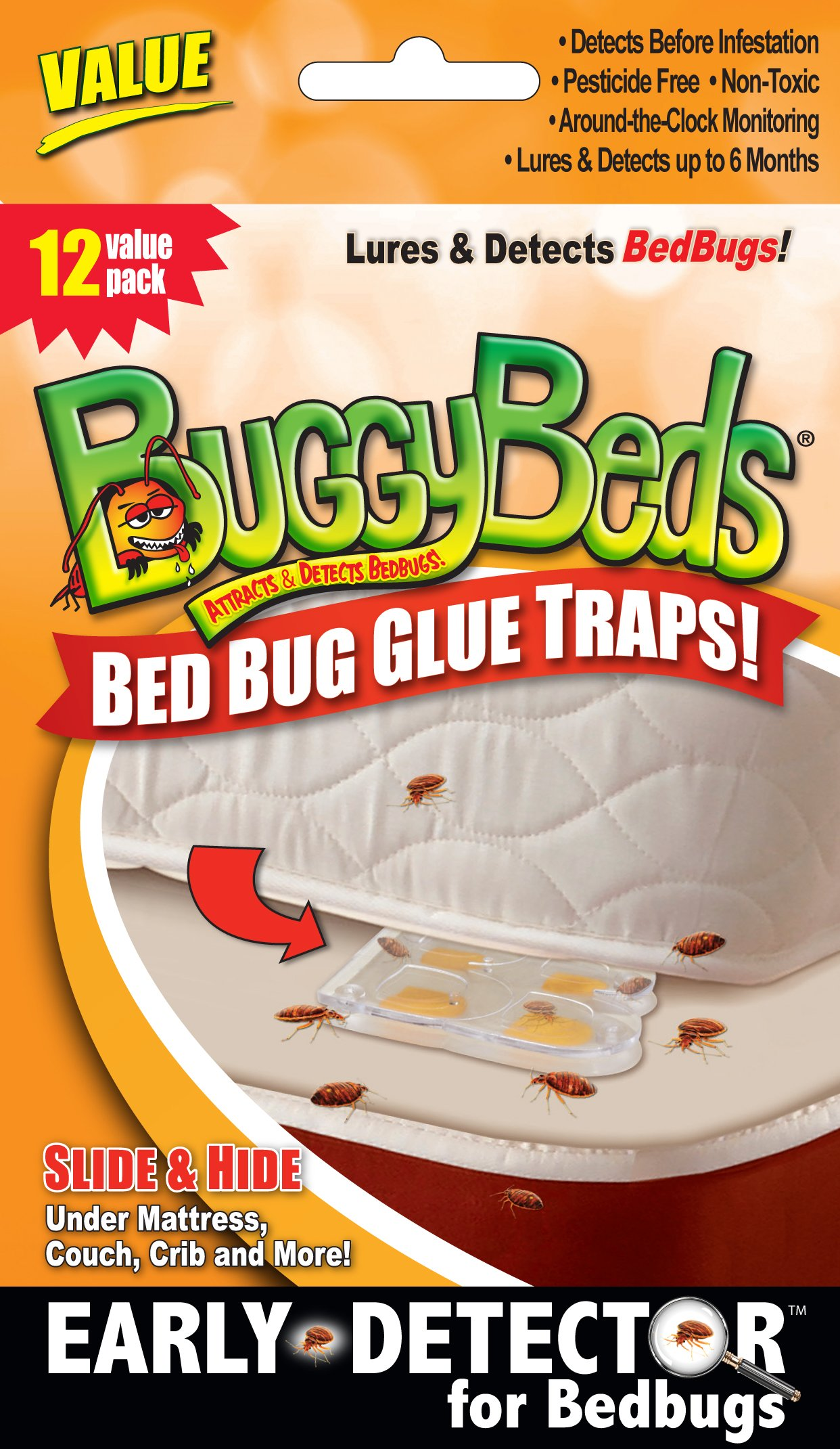 12pk Value BuggyBeds Bed Bug Glue Traps by BuggyBeds Mythgift Household Tool