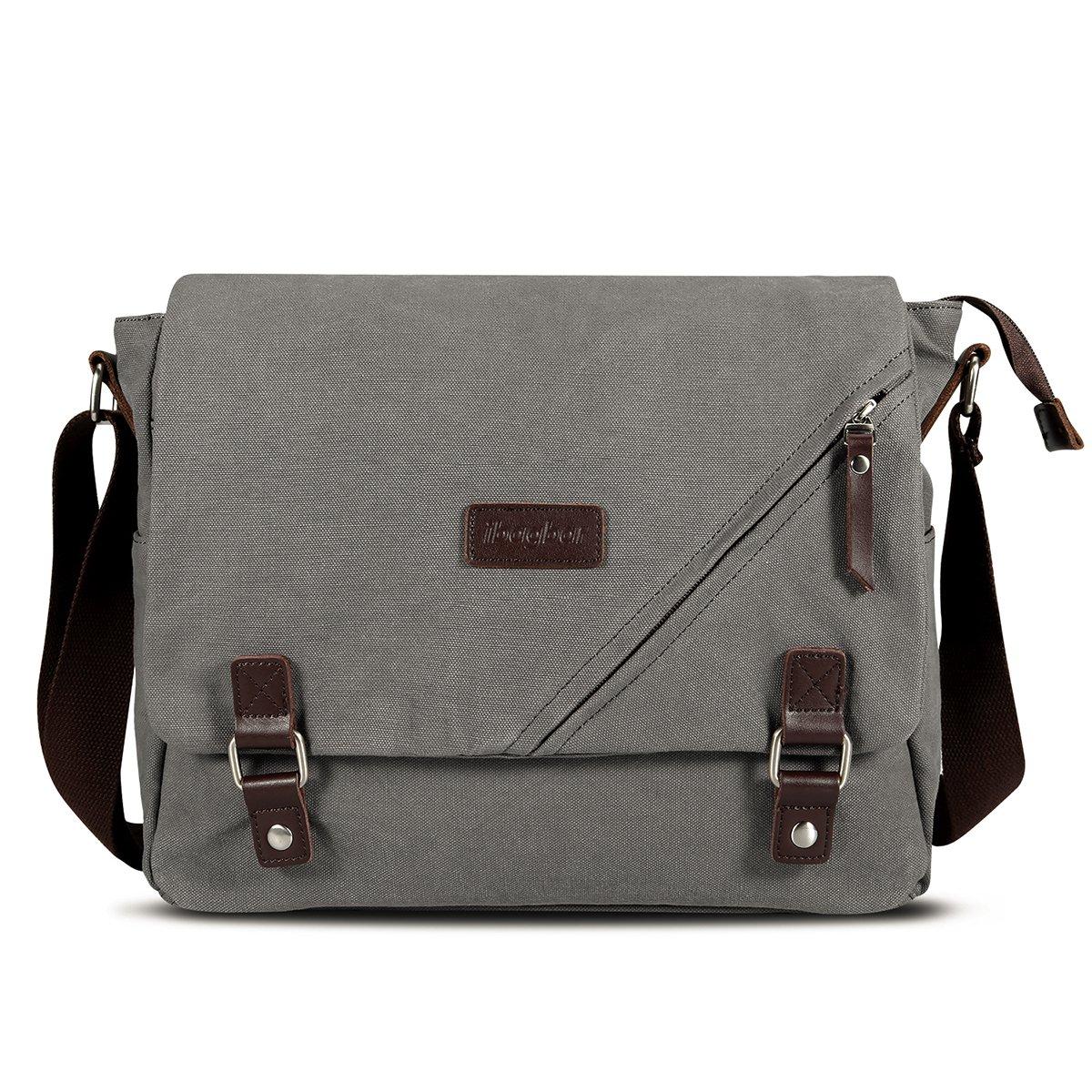 22c6e426f0 Amazon.com  ibagbar Canvas Messenger Bag Shoulder Bag Laptop Bag Computer Bag  Satchel Bag Bookbag School Bag Working Bag for Men and Women Gray Large  ...