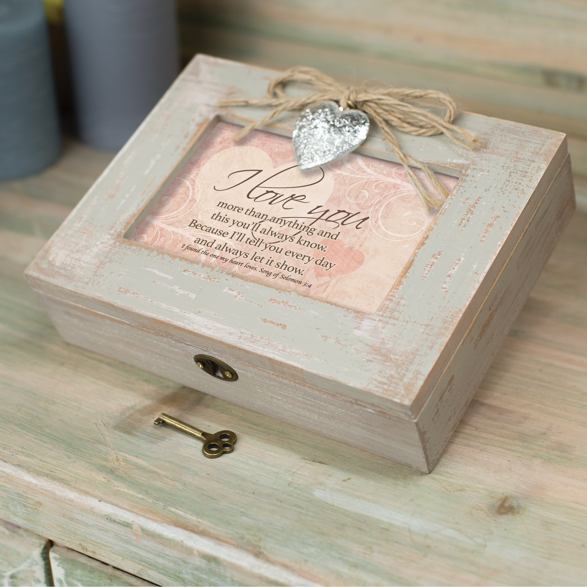Cottage Garden I Love You More Natural Taupe Wood Locket Box Music Box Plays How Great Thou Art by Cottage Garden (Image #3)