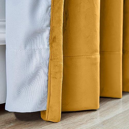 Frelement Extra Wide Orange Velvet Curtains