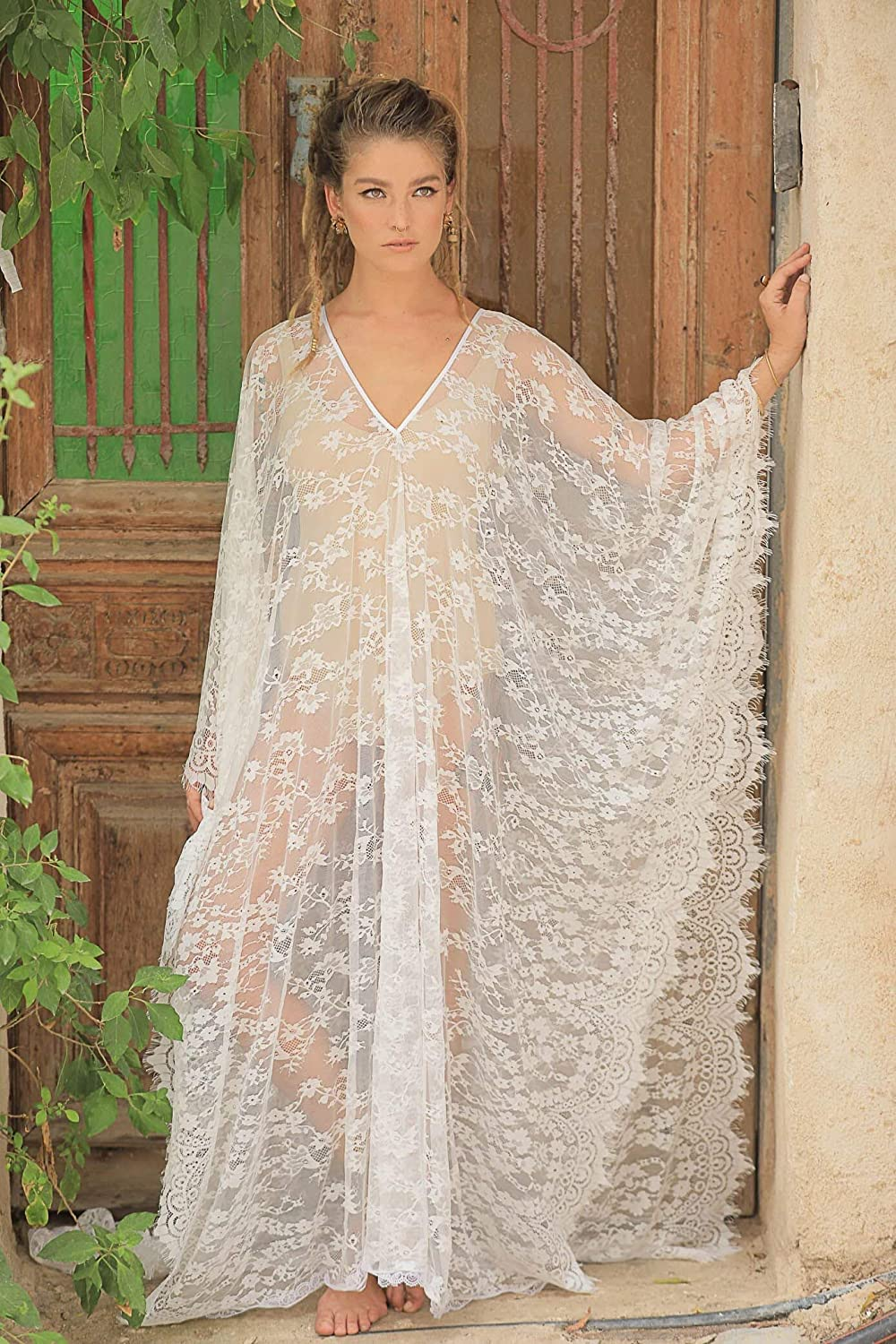 508d9890bf Amazon.com: Over Sized Kaftan Dress Made of Soft French Lace, Can Be Used  as Bohemian Beach or Honeymoon Dress or as a Luxury Wedding Lingerie:  Handmade